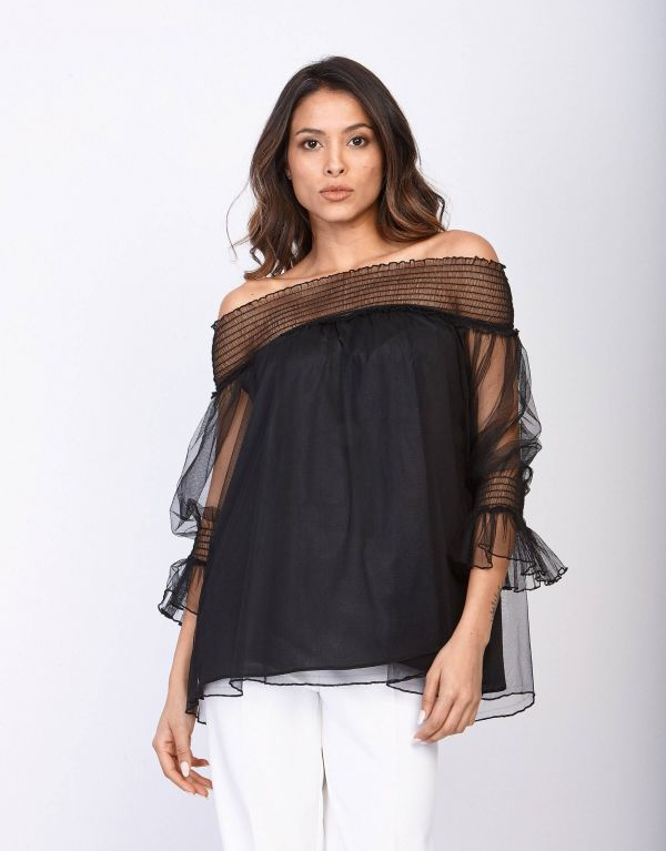 Casacca in tulle mesh
