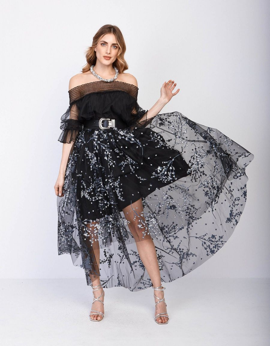 Gonna in tulle stampato
