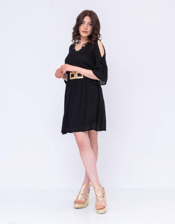 Vestito corto con maniche oblò