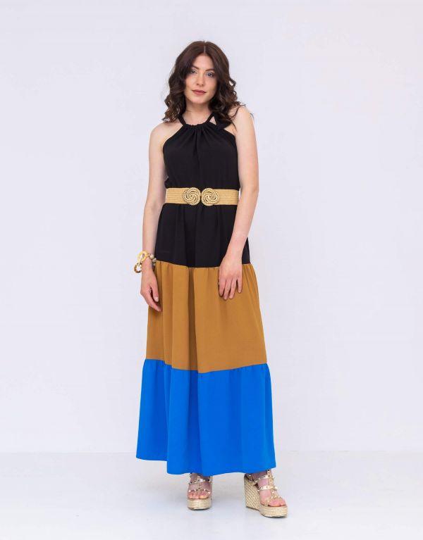 Vestito lungo tre colori