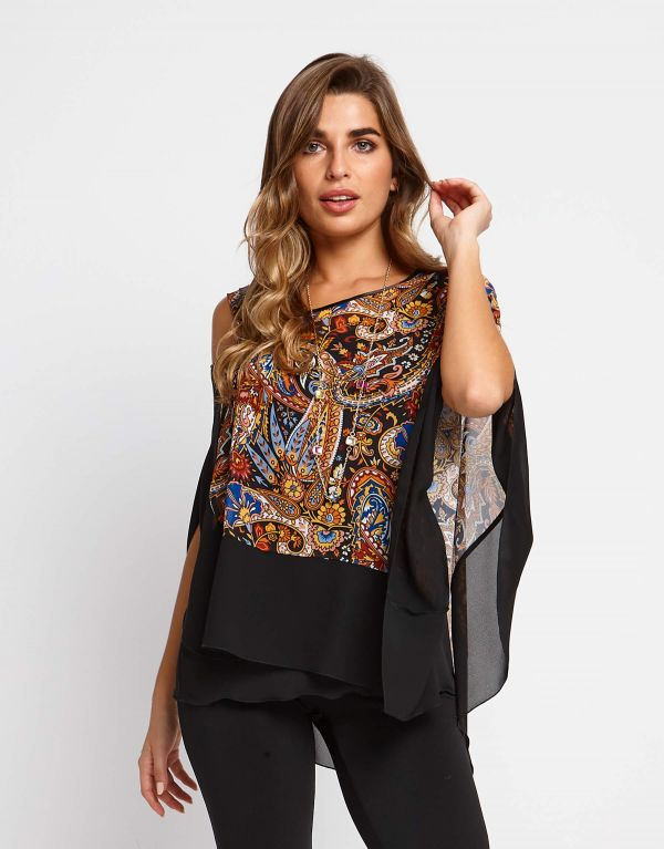 Poncho in georgette...