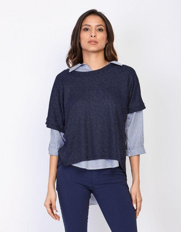 Camicia in cotone a righe...
