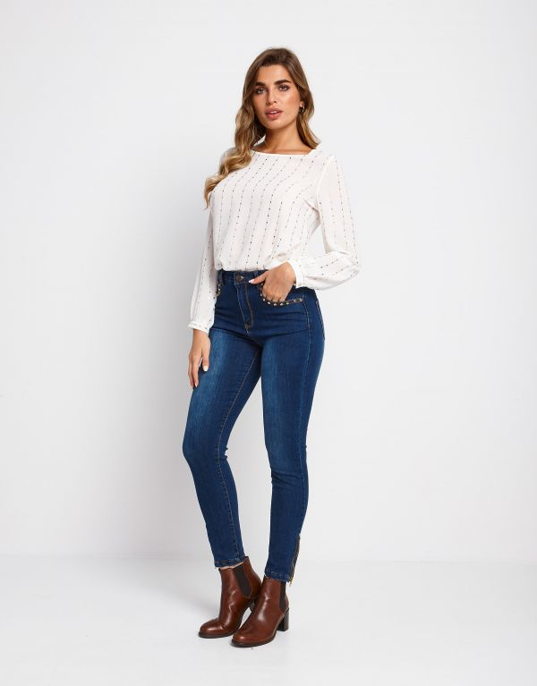 Jeans skinny in cotone con zip