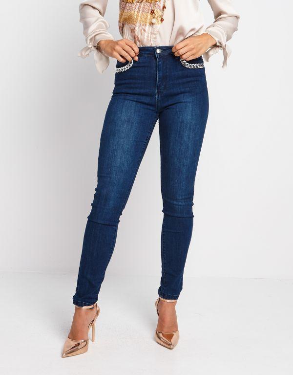 Jeans con catena argento