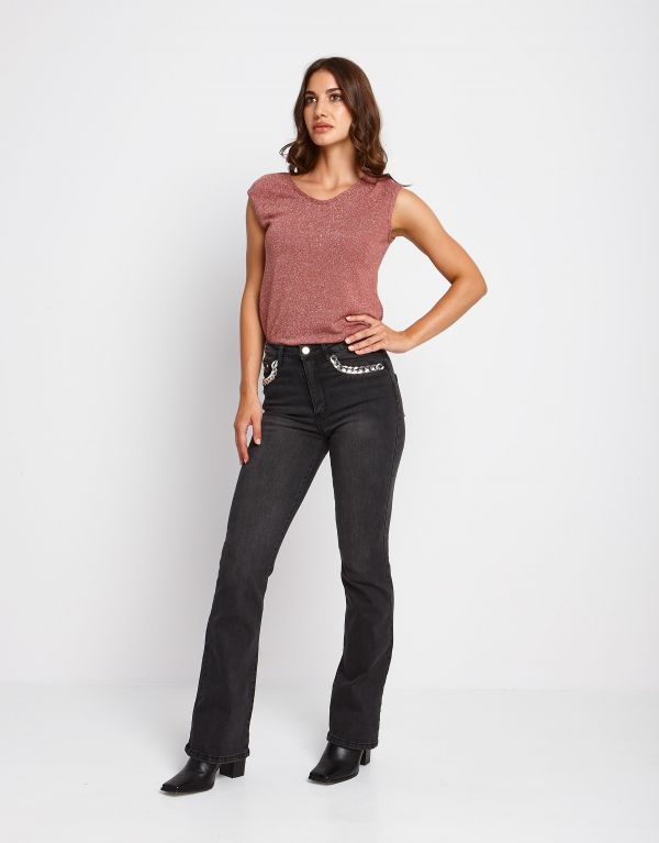 Jeans flare con catena argento
