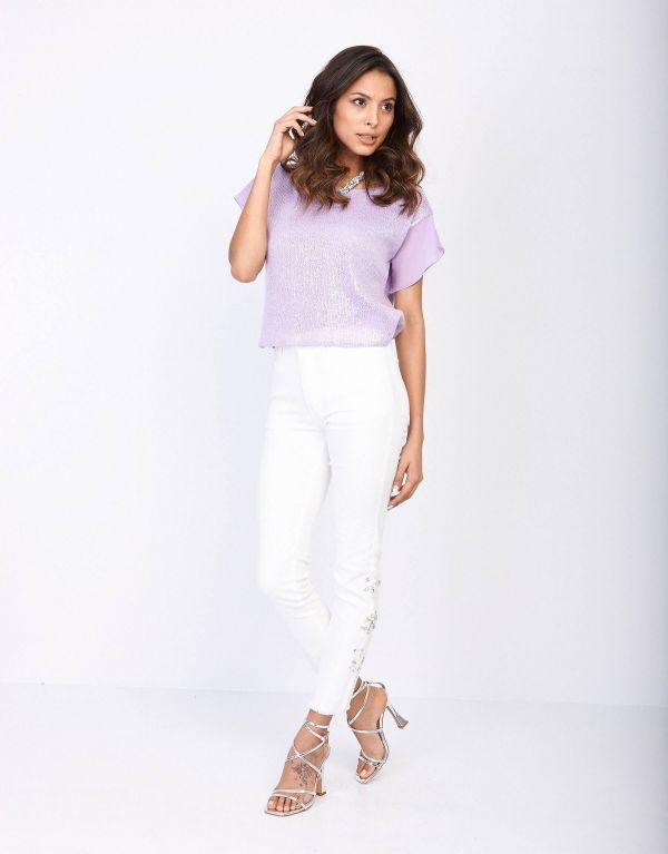 Jeans in cotone con pietre...